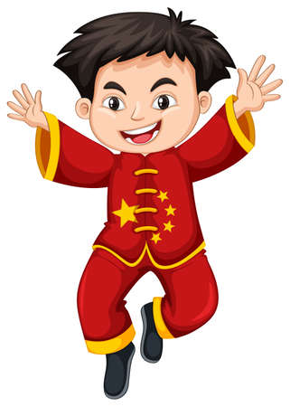 Chinese boy in traditional costume illustration