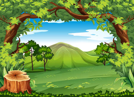 Mountain scene with green trees illustration Illustration