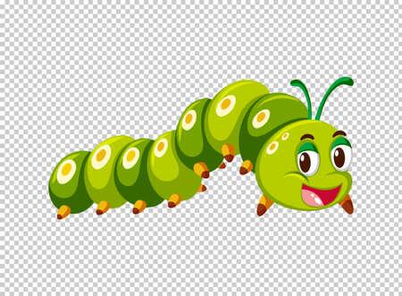 Caterpillar in green color illustration