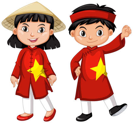 Garçon et fille vietnamien en costume rouge Banque d'images - 78000013