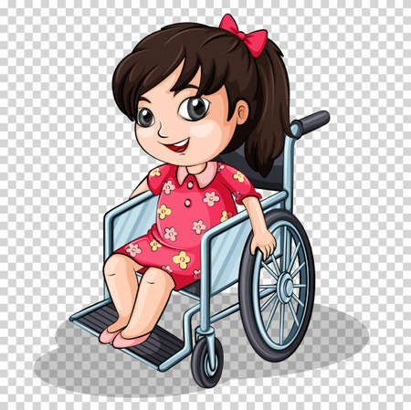 Girl on wheelchair on transparent background illustration