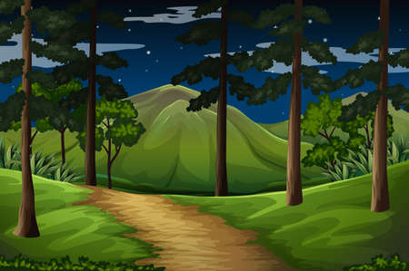 hiking: Forest scene with trail to the mountain illustration Illustration