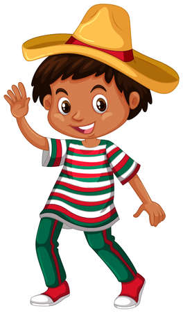 adolescent boy: Mexican boy in traditional outfit illustration