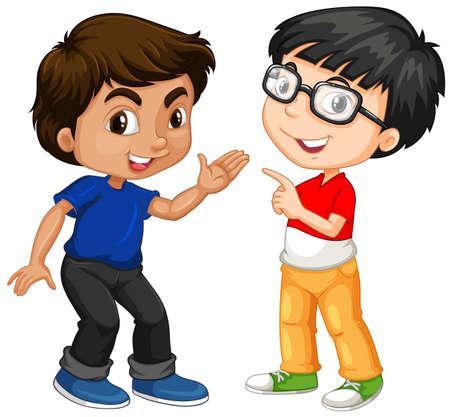 Due personaggi ragazzo con felice faccia illustrazione Archivio Fotografico - 77999954
