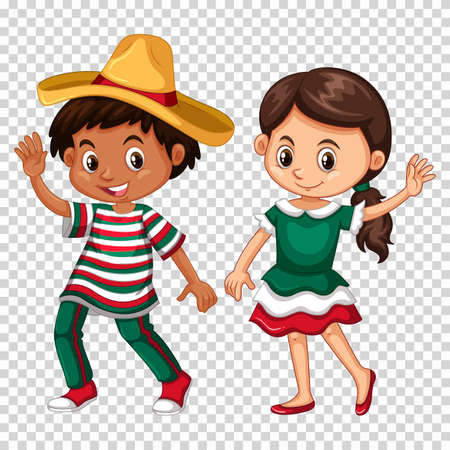 Mexican boy and girl on transparent background illustration