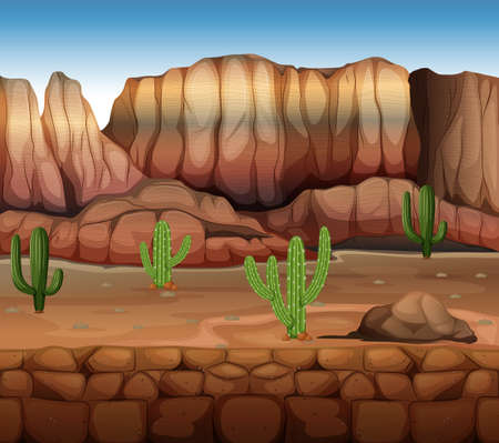 Scene with cactus and canyon illustration