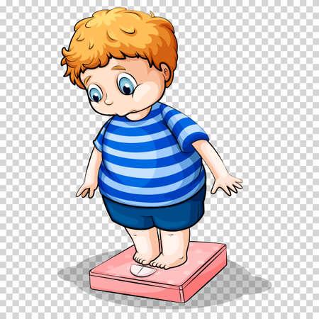 Fat boy on scale illustration Illustration