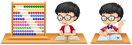asian student: Boy studying math using abacus illustration