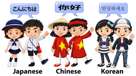 asian student: Kids from different countries in Asia illustration