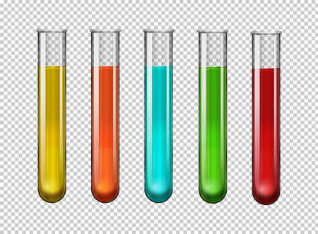 Prodotto chimico variopinto nell'illustrazione delle provette