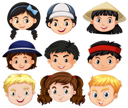 girl: Different faces of boys and girls illustration
