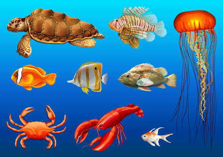 Different kinds of wild animals underwater illustration