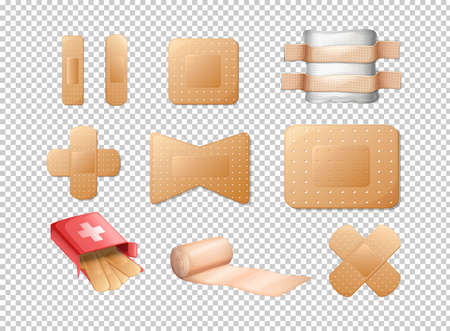 Different designs of bandages on transparent background illustration