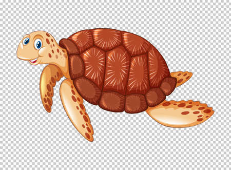 Sea turtle swimming on transparent background illustration