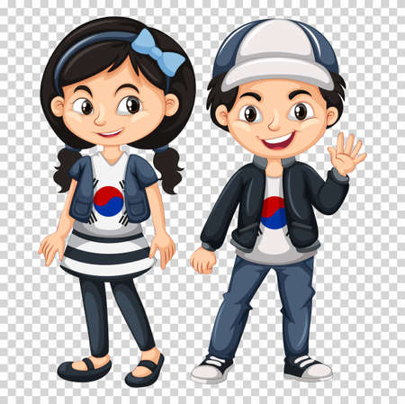 flag: Boy and girl wearing shirts with South Korea flag illustration