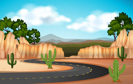 Scene with road through the canyon illustration
