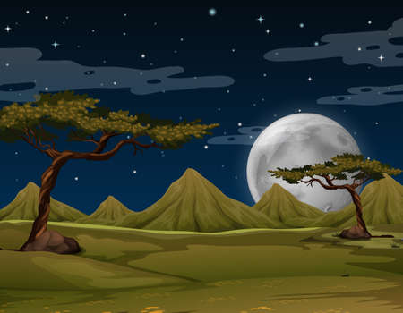 tropical: Scene with mountains at night illustration Illustration