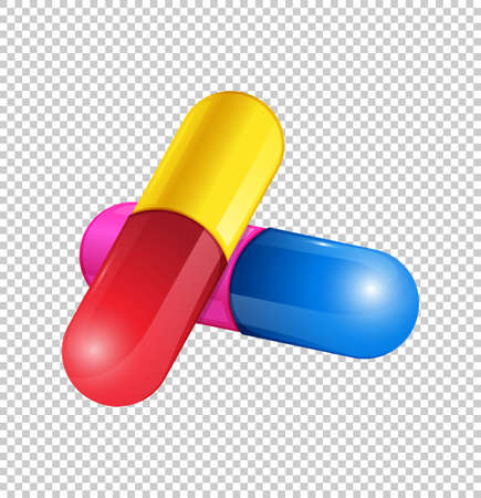 medical drawing: Colorful capsules on transparent background illustration