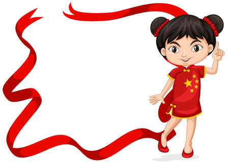 Frame template with Chinese girl in red costume illustration