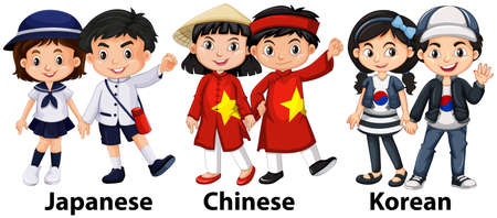 asian student: Asian children from different countries illustration