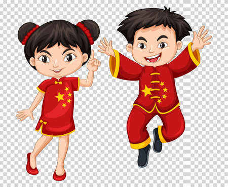 Two Chinese kids in red costume illustration