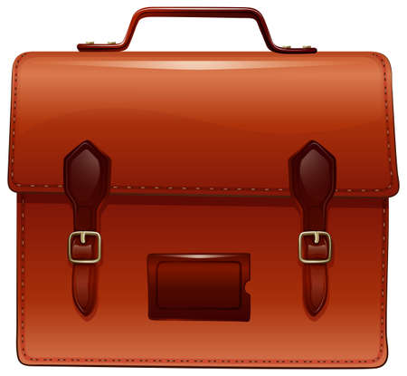 Brown briefcase with nametag case illustration Illustration