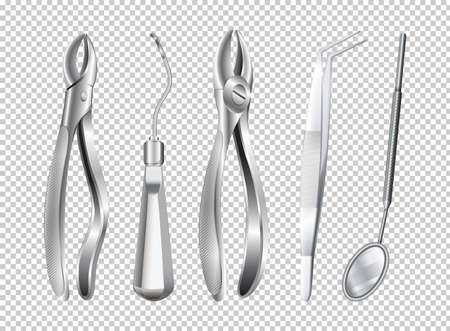 Different tools used in dentist clinic illustration