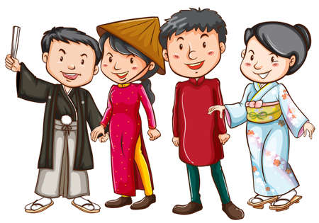Asian people in traditional costumes illustration