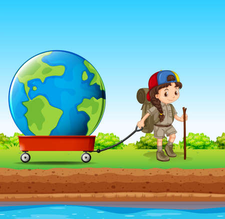 Girl pulling globe in red wagon illustration