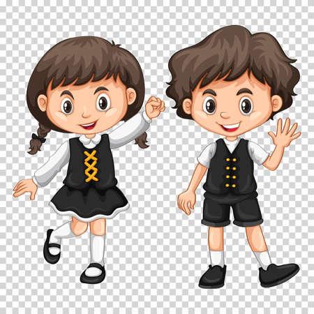 black hair girl: Boy and girl with black hair illustration Illustration