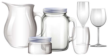 white wine: Different types of glass containers illustration