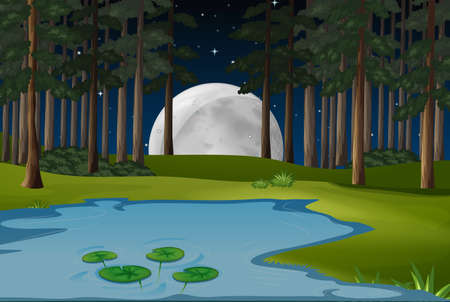 Nature scene with fullmoon and pond in forest illustration Illustration