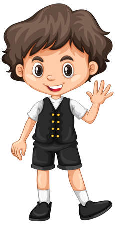 hand: Little boy waving hand illustration