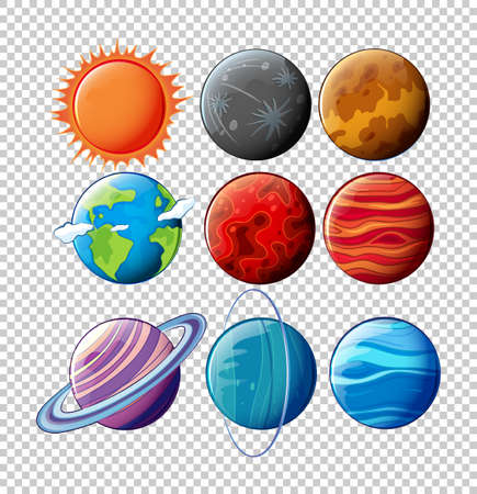 Different planets in solar system on transparent background illustration