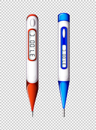 Digital thermometers on transparent background illustration