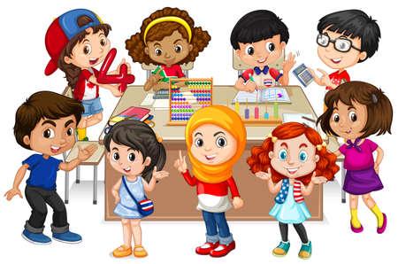 happy: Many kids learning math in classroom illustration Illustration