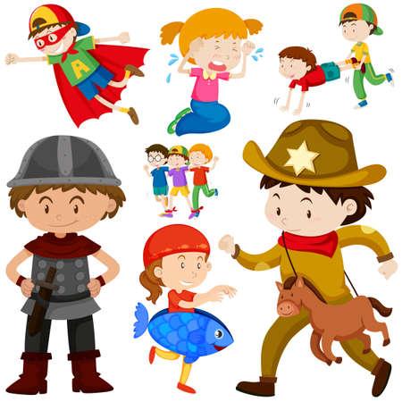 Kids in different costume illustration