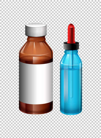 brown: Two bottles contain medicine illustration Illustration