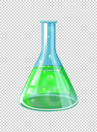 Green chemical in beaker illustration
