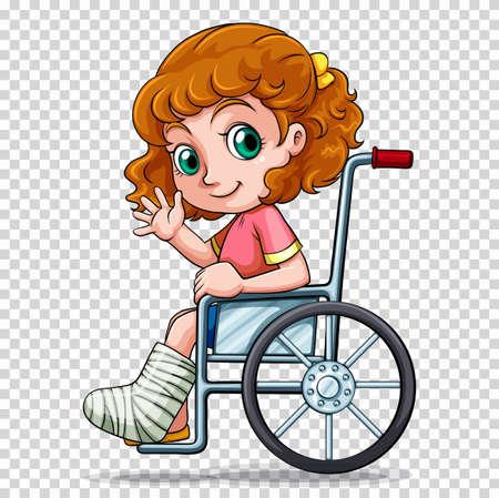 girl: Little girl on wheelchair illustration