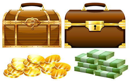 storage box: Two designs of chests with gold and money illustration