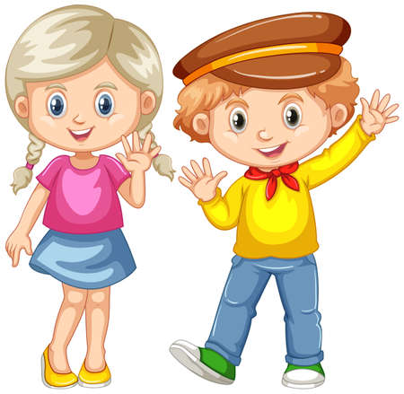 happy people: Boy and girl waving hands illustration