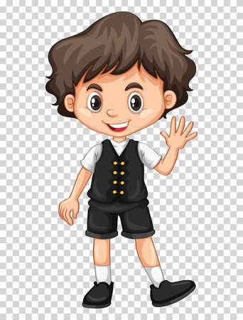 hand: Cute boy waving hand on transparent background illustration