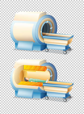 MRI scan with and without patient illustration