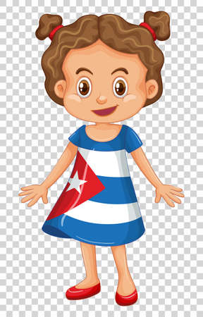 happy people: Girl in Cuba flag on dress illustration Illustration