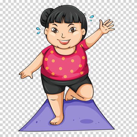 Vet meisje doet yoga op mat illustratie Stock Illustratie