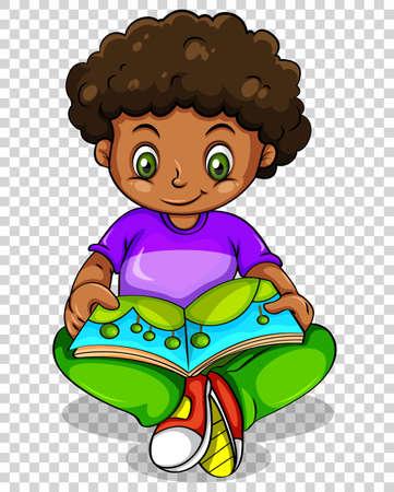 happy: Boy reading storybook on transparent background illustration Illustration