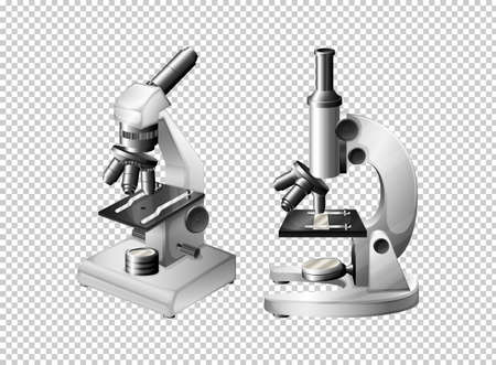 school: Two microscopes on transparent background illustration Illustration