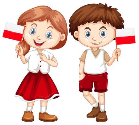 Happy boy and girl holding flag of Poland illustration Illustration