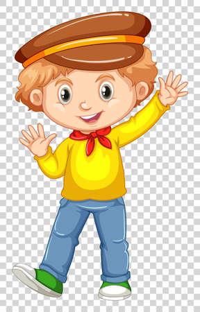 image: Little boy in yellow shirt waving hand illustration